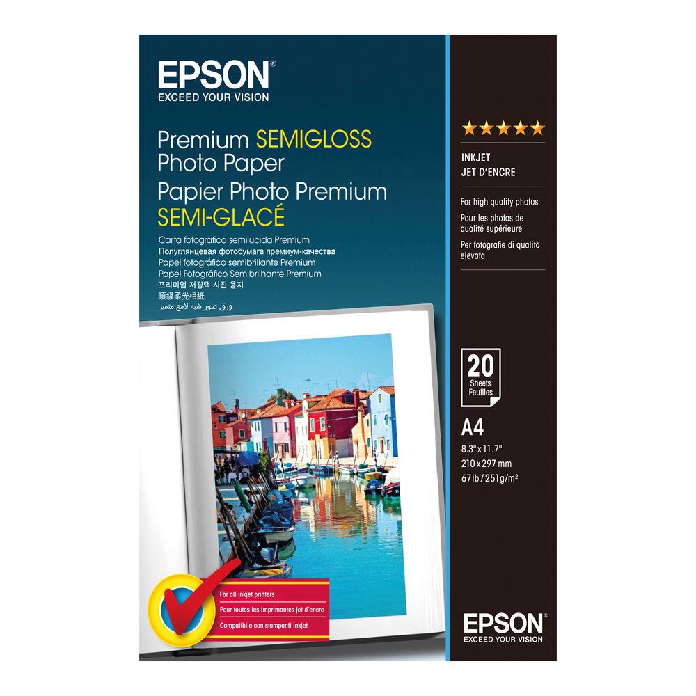 Epson A4 Premium Semi-Gloss Photo Paper (Pack of 20) C13S041332