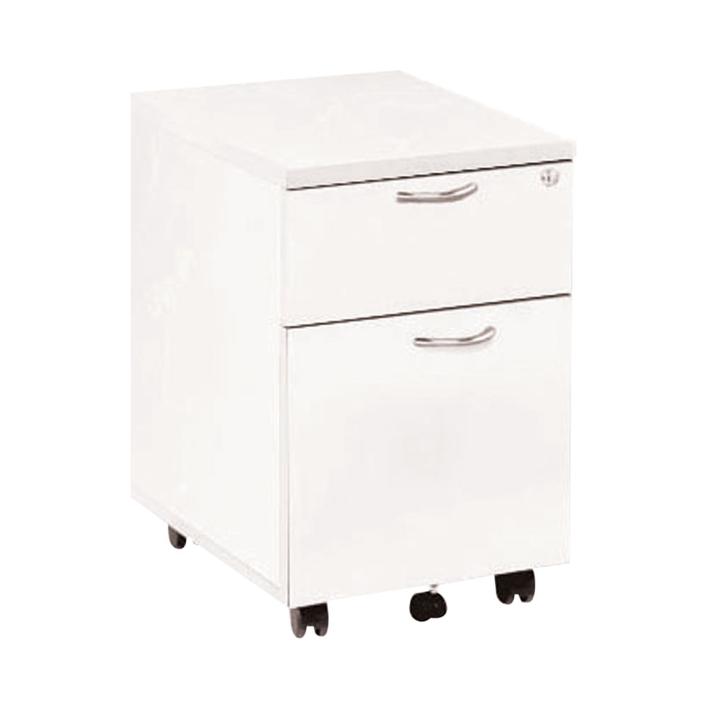 Jemini 595mm White 2 Drawer Mobile Pedestal