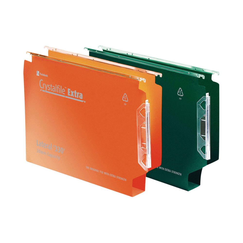 Rexel Crystalfile Extra Lateral File 30mm Orange (Pack of 25) 3000125