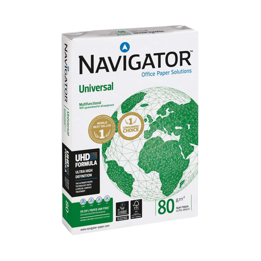 Navigator Universal A4 White Paper, 80gsm, Pack of 2500 - NAVA480