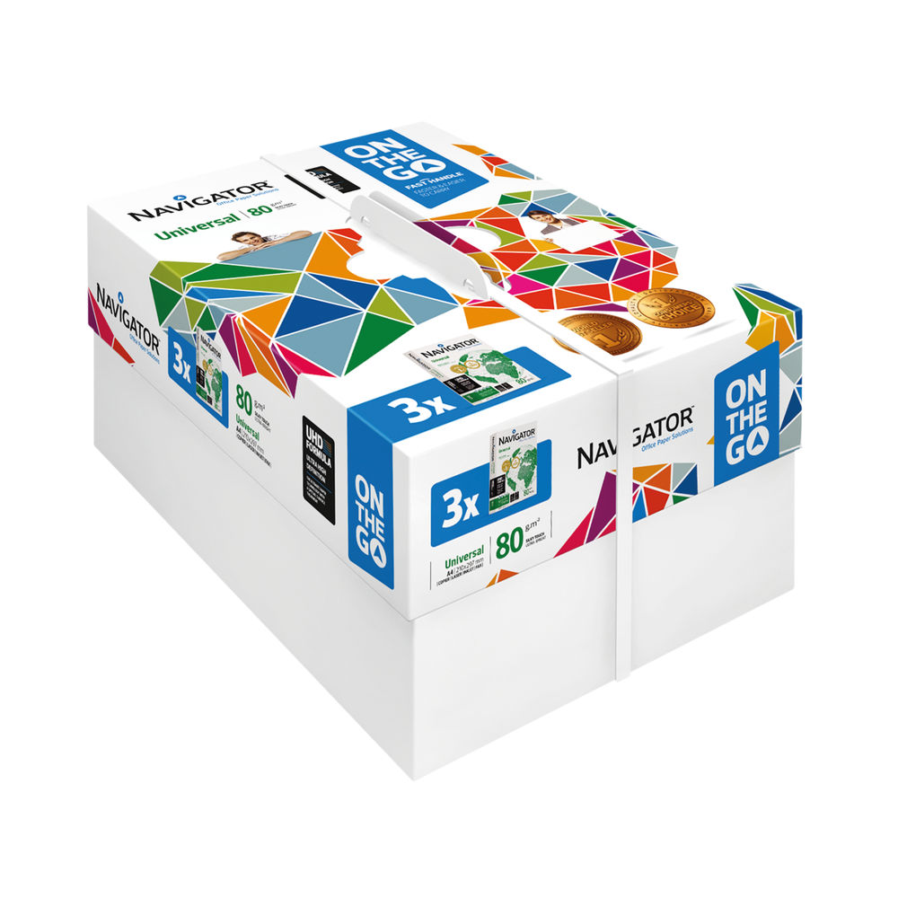 Navigator Universal On The Go A4 Paper 80gsm, Pack of 3 Reams – NAVA40TG