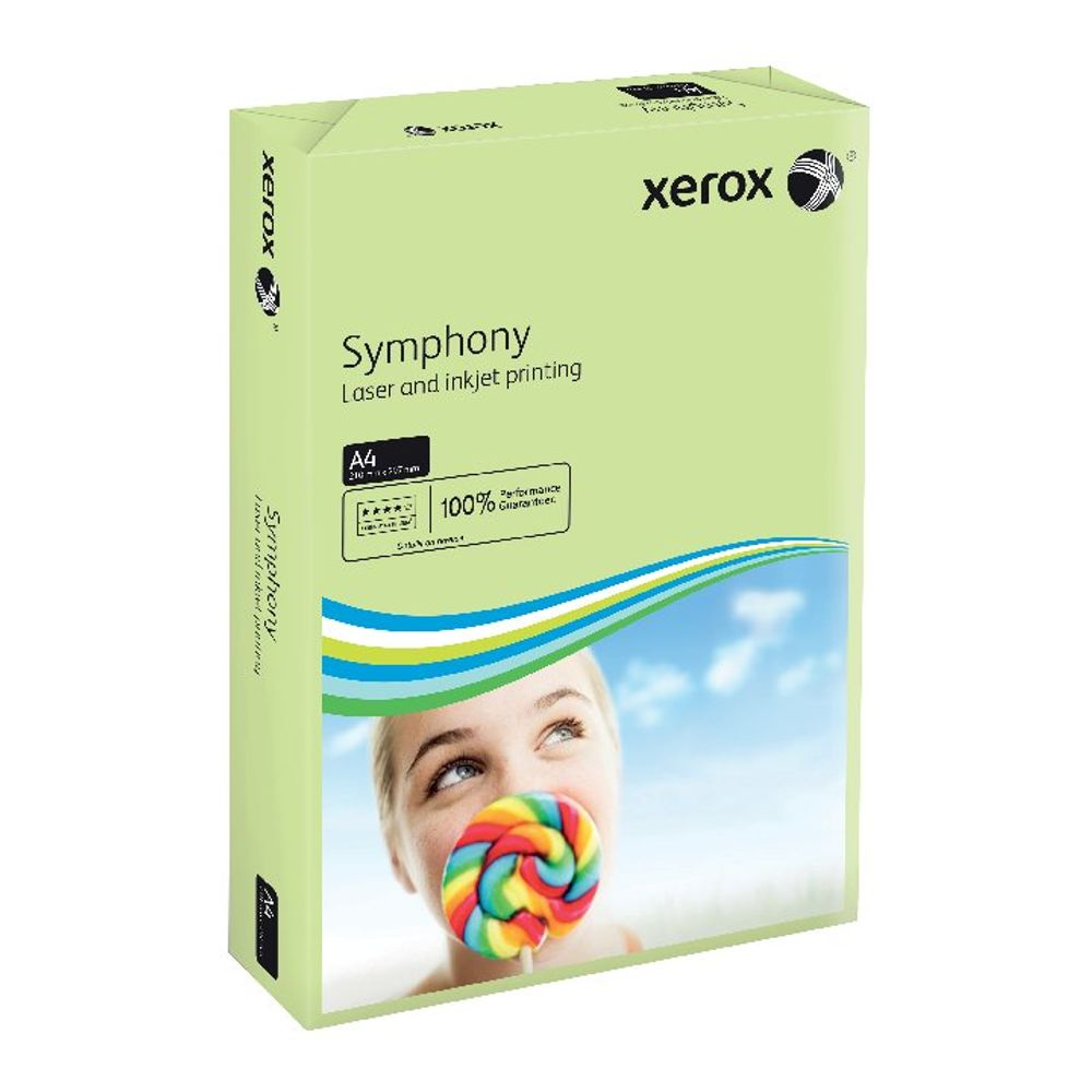 Xerox Symphony Pastel Green A4 Card, 160gsm (Pack of 250)- 003R93226