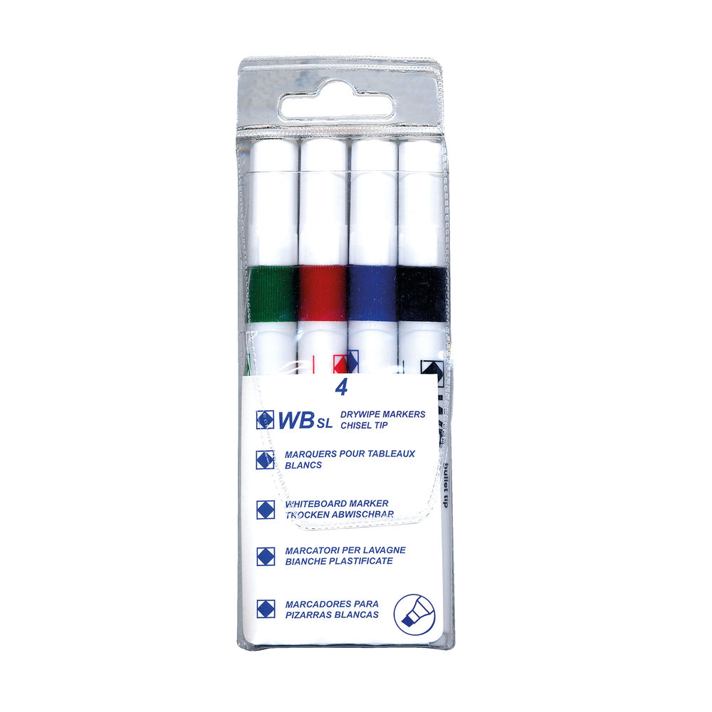 Assorted Chisel Tip Whiteboard Markers, Pack of 4 - WX26038