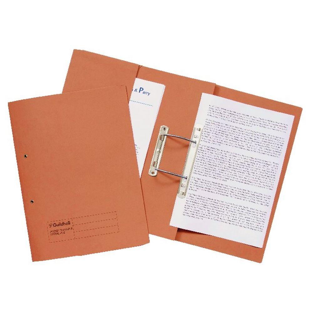 Guildhall Orange Foolscap Transfer Spiral Pocket Files - Pack of 25 - 349-ORG