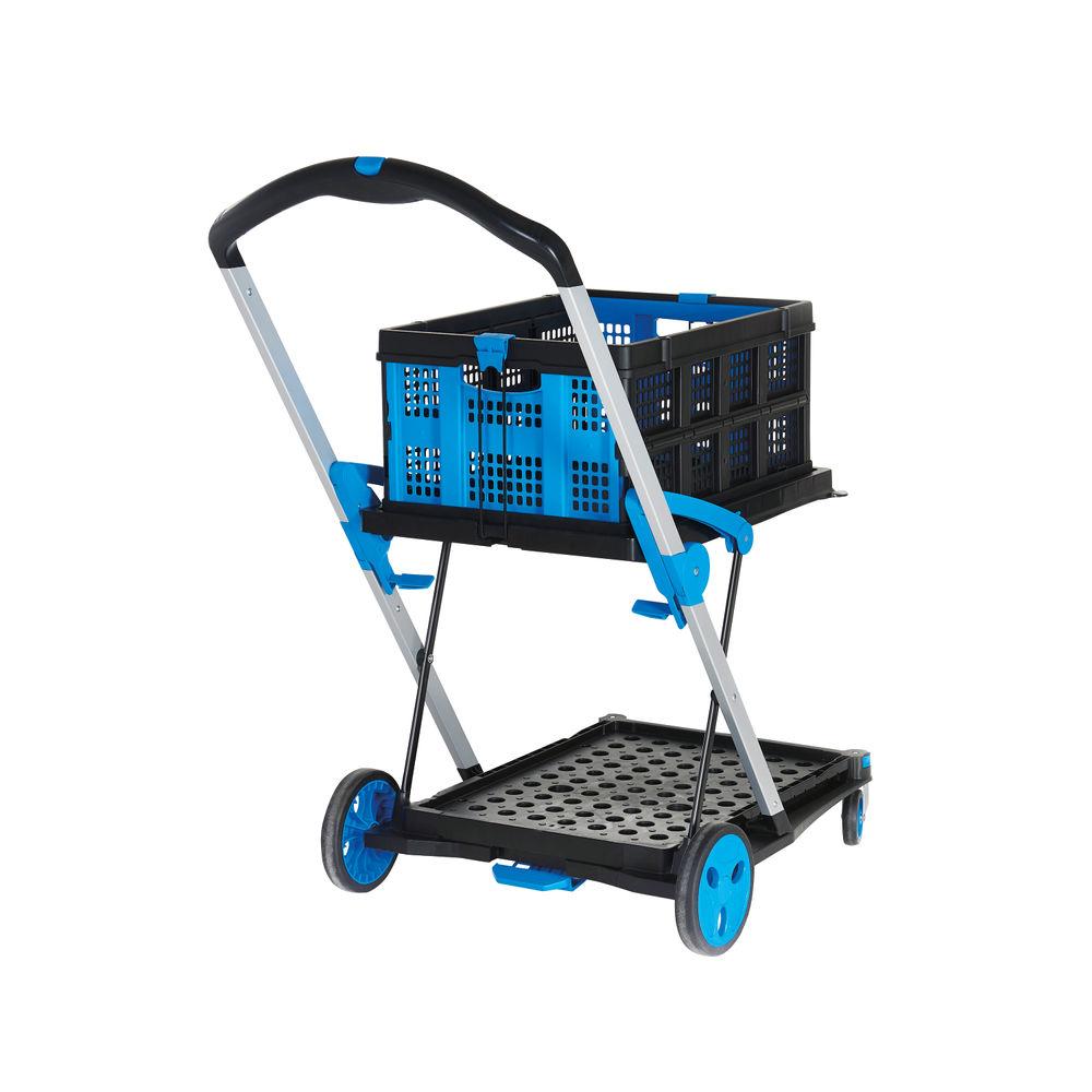 Large Folding Trolley with Folding Box Black/Blue 415149