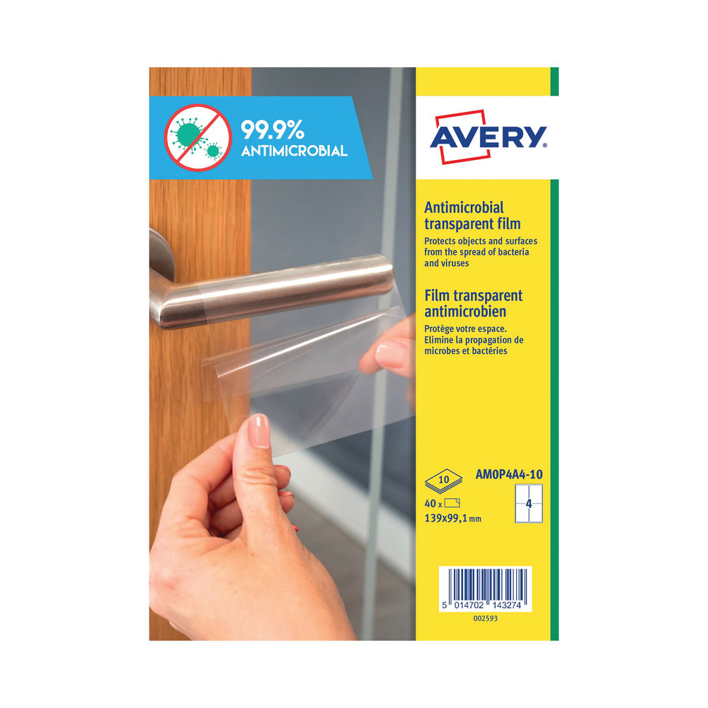 Avery Permanent A4 Antimicrobial Film Labels (Pack of 40) AMOP4A4-10
