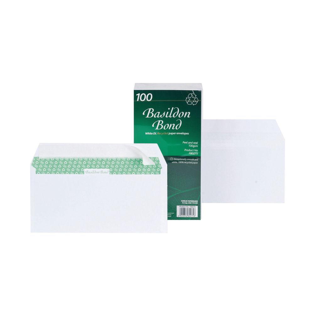 Basildon Bond DL White Plain Wallet Envelopes, Pack of 100 - F80275