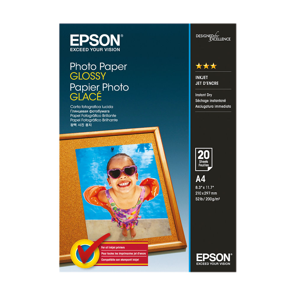 Epson A4 Photo Paper Glossy 200gsm (Pack of 20) C13S042538
