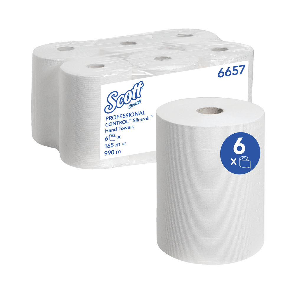 Scott White Slimroll 1-Ply Hand Towel Rolls, Pack of 6 - 6657