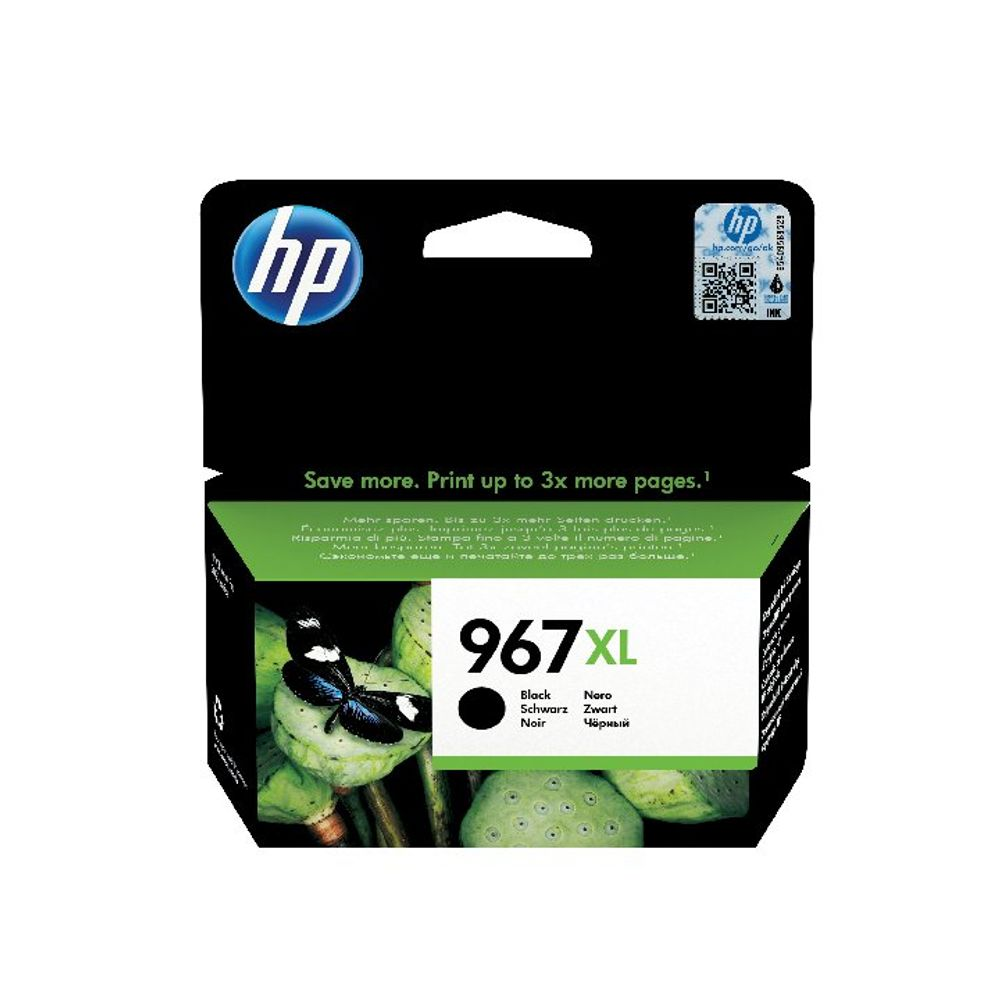 HP 967XL Original Black Ink Cartridge Extra High Yield (3,000 page capacity) 3JA31AE
