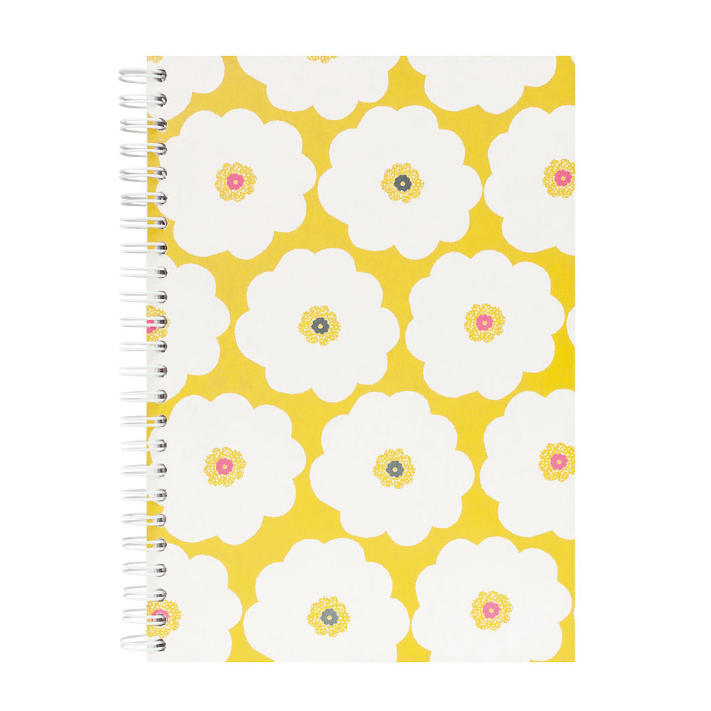 Go Stationery Lime A5 Coral Bloom Large Flower Notebook - 5NC201B