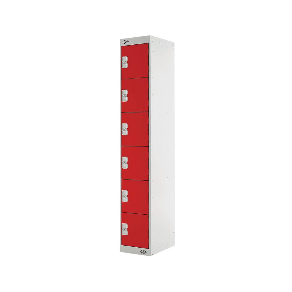 Six Compartment D300mm Red Express Standard Locker - MC00150