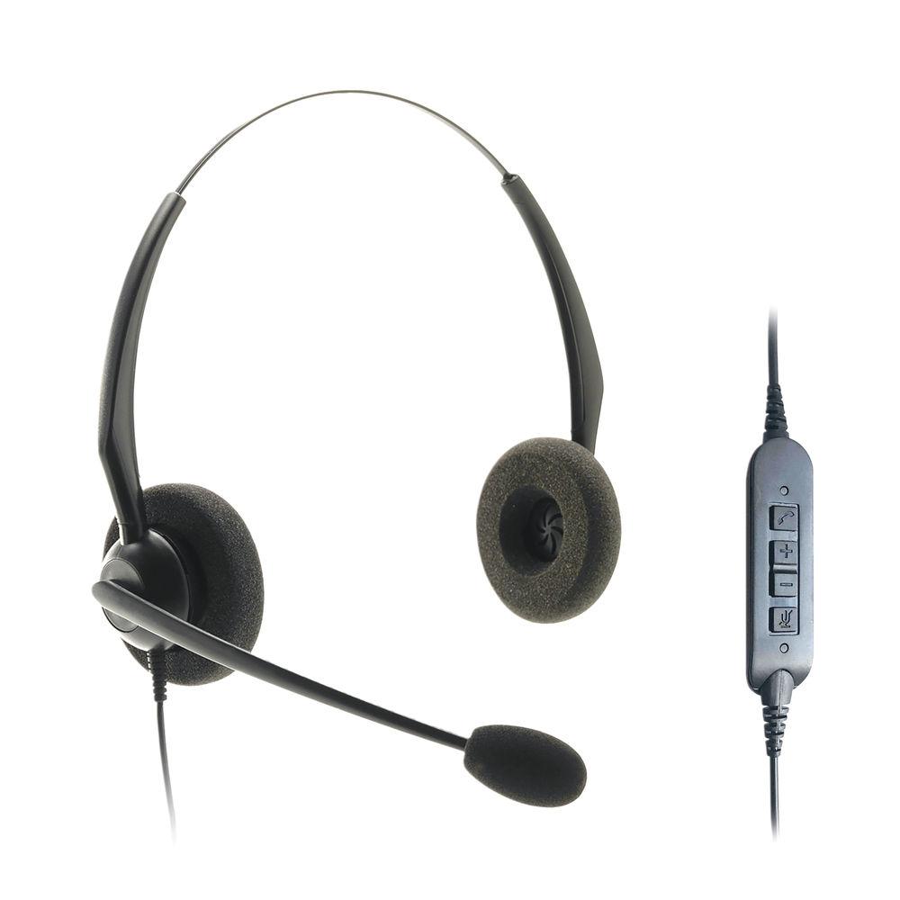 JPL JACPLUS Binaural Adjustable USB Headset Clothing Clip Black JACPLUSUSBBIN