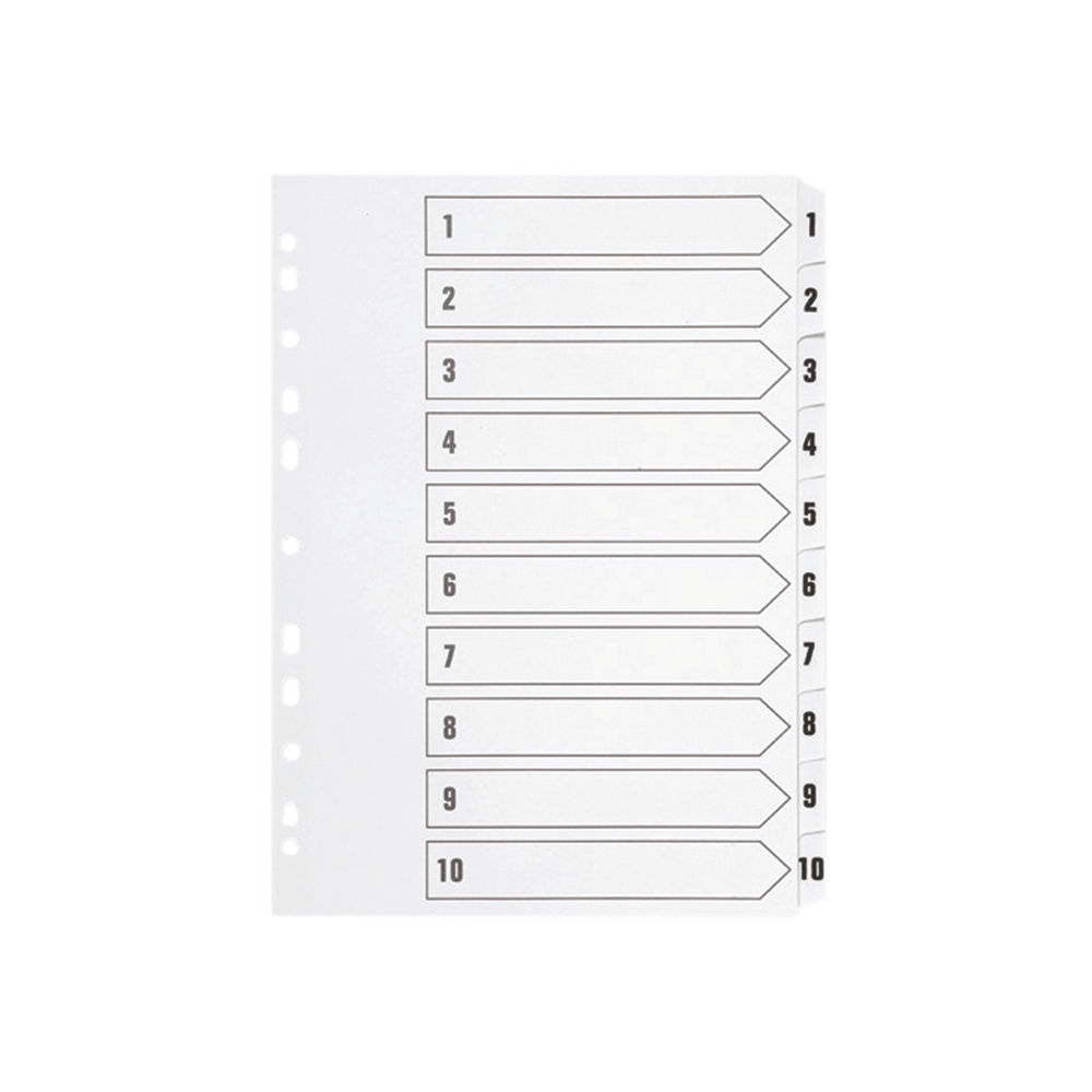 Q-Connect White A4 1-10 Multi-Punched Polypropylene Index Dividers - KF01353