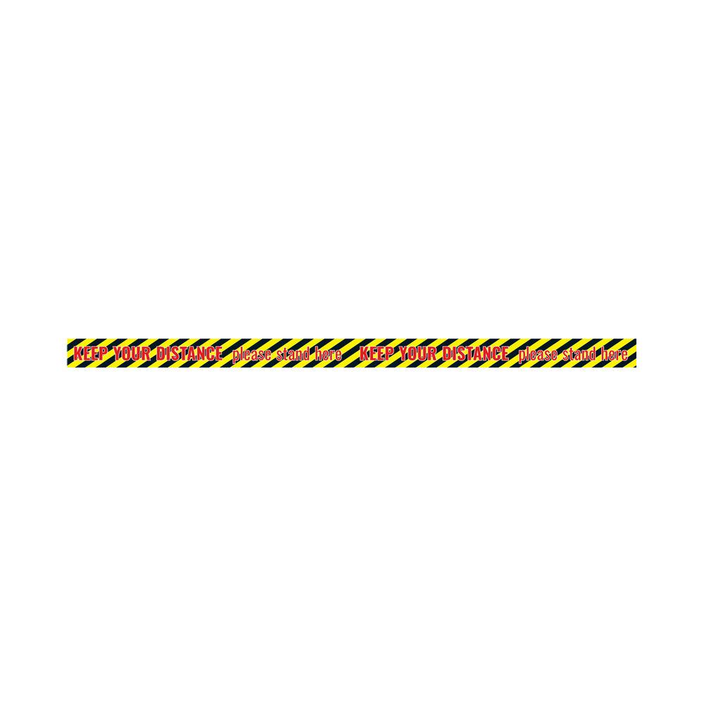 Social Distance Warning Sticker 650x60mm Tape (Pack of 5) Socialstick09