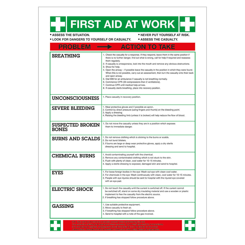 First Aid at Work 420 x 590mm PVC Safety Sign - WC61