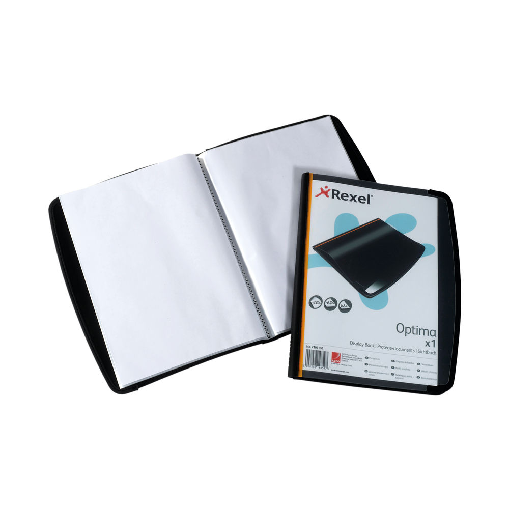 Rexel Optima Display Book 20 Pockets Black (Pack of 6) 2101130
