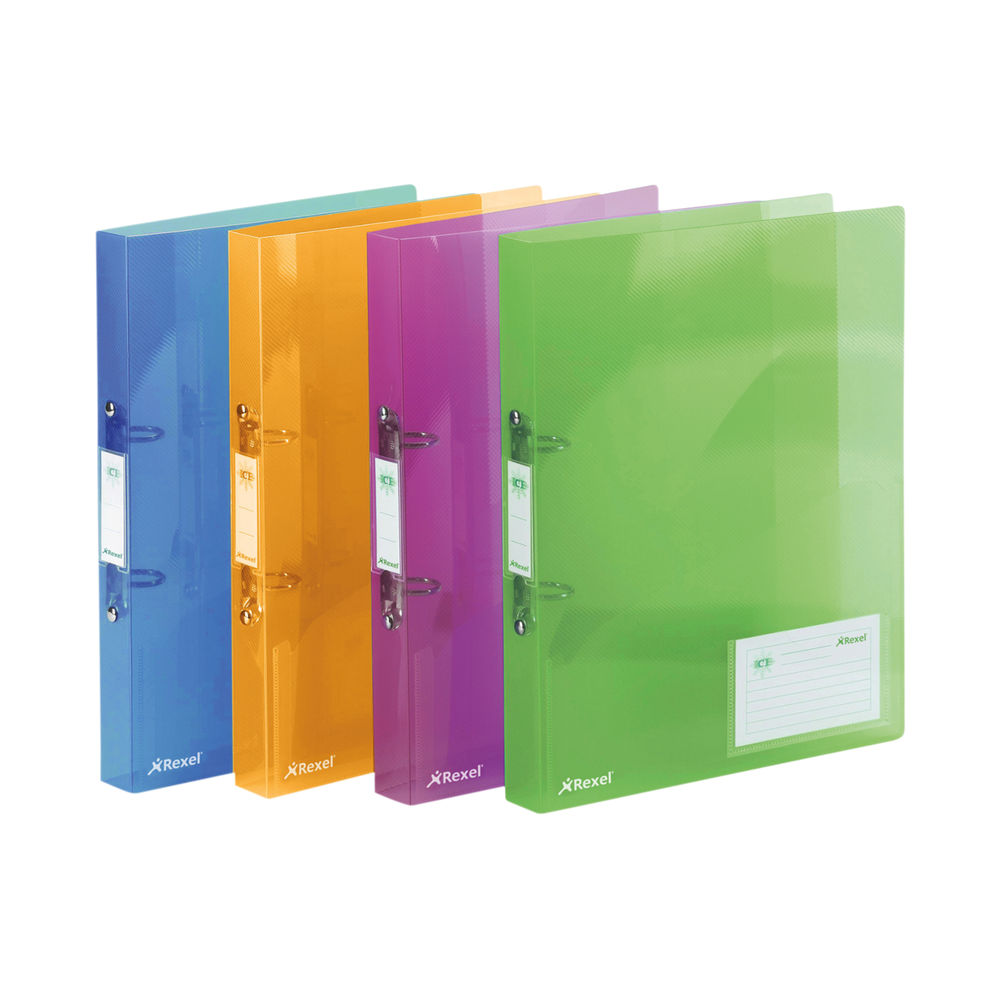 Rexel Ice 2 Ring Binder PP 25mm A4 Assorted (Pack of 10) 2102044