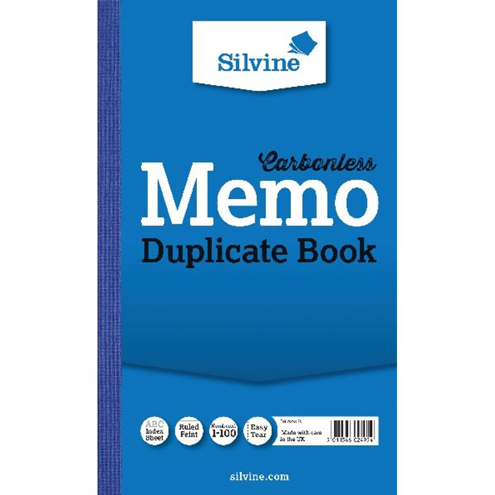 Silvine Carbonless Memo Ruled Duplicate Book, 100 Pages (Pack of 6) - 701-T