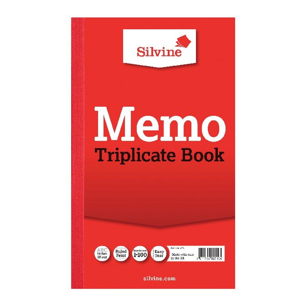 Silvine Carbon Triplicate Memo Ruled Book, 100 Pages - Pack of 6 - 605