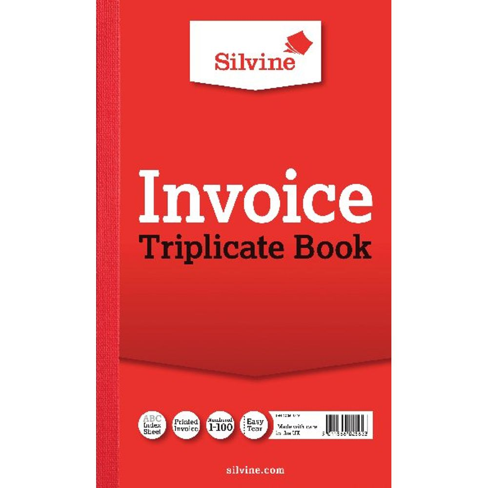 Silvine Carbon Triplicate Invoice Book, 100 Pages - Pack of 6 - 619