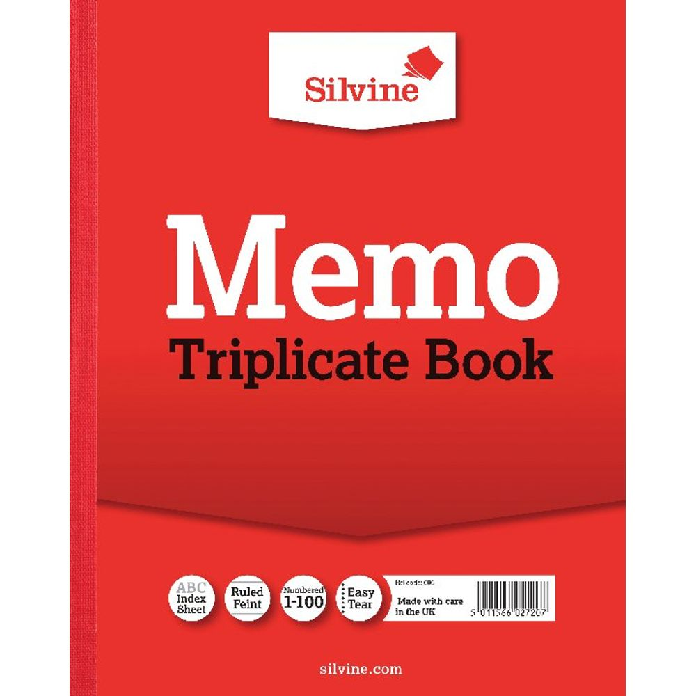 Silvine Carbon Triplicate Ruled Memo Book, 100 Pages - Pack of 6 - 606