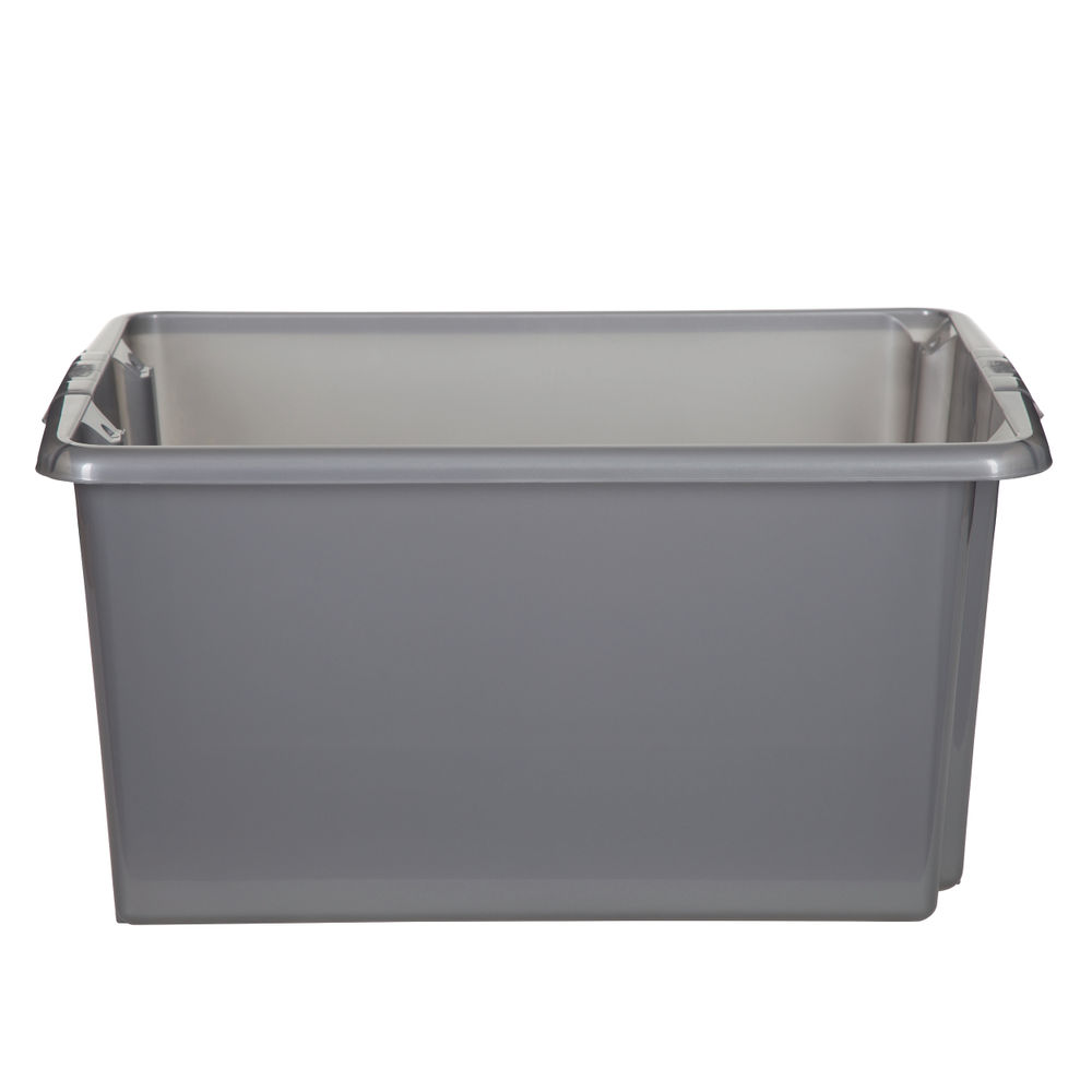 Stack And Store 52 Litres Large Silver Storage Box S01L801