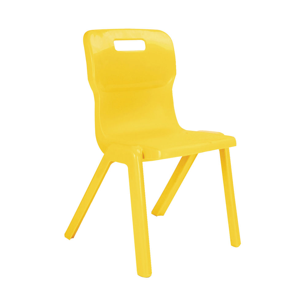 Titan 460mm Yellow One Piece Chairs, Pack of 10