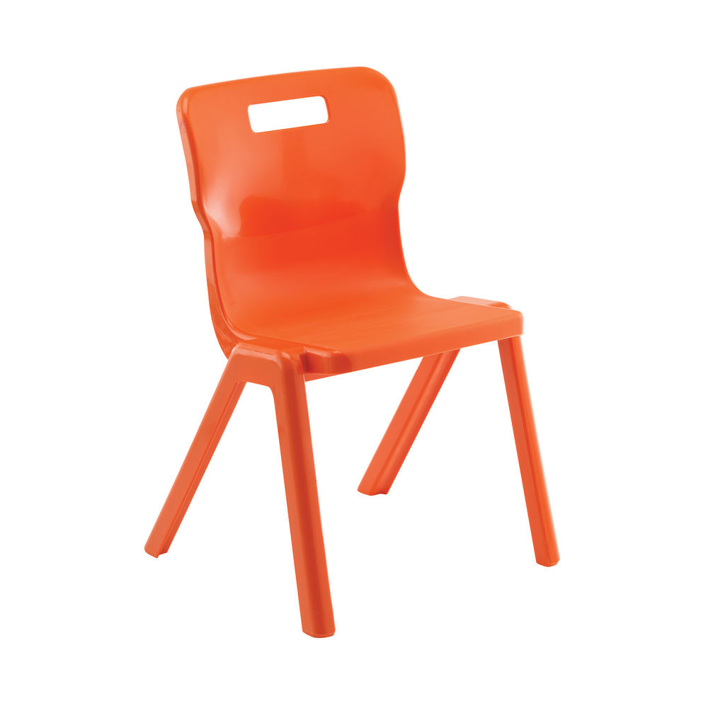 Titan 380mm Orange One Piece Chairs, Pack of 10