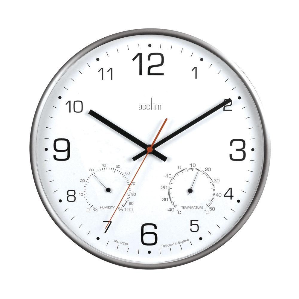 Acctim Komfort 30.5cm Metal Thermo Hygro Wall Clock - 29147