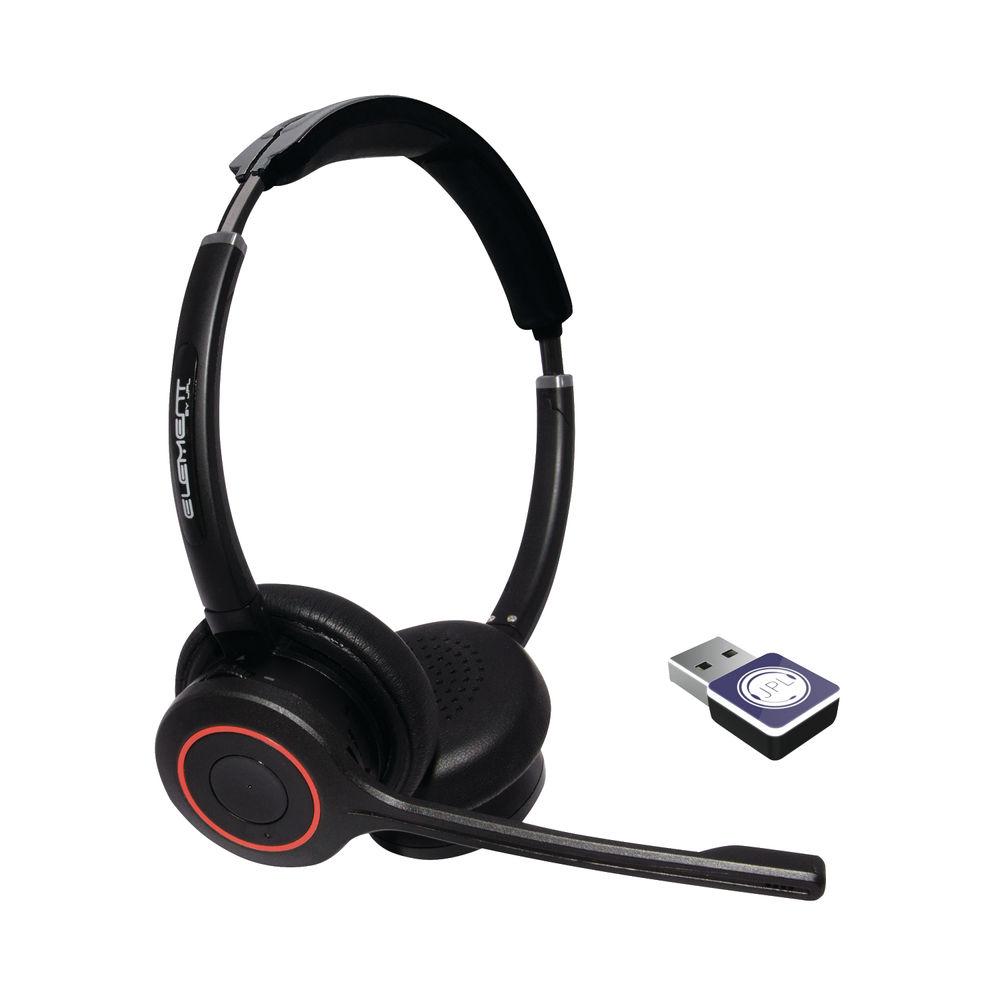JPL Element BT500D Professional Binaural Wireless Bluetooth Headset With UC Dongle Black BT500D