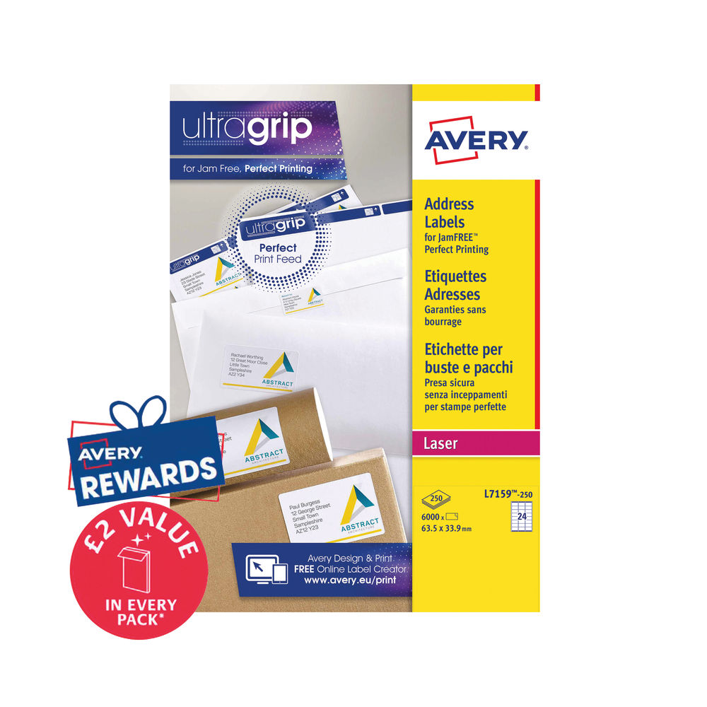 Avery 63.5 x 33.9mm White Ultragrip Laser Labels, Pack of 6000 - L7159-250