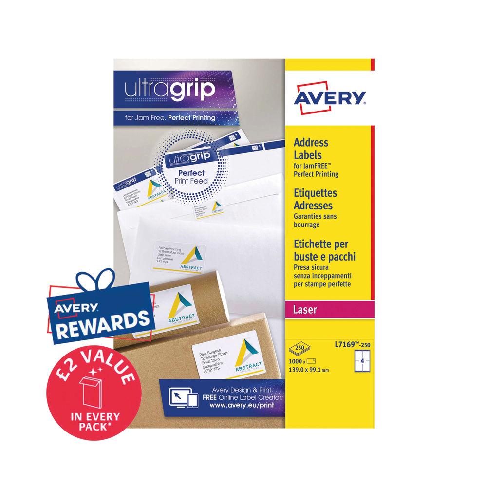 Avery 139 x 99.1mm White Ultragrip Address Laser Labels, Pack of 1000 - L7169-250