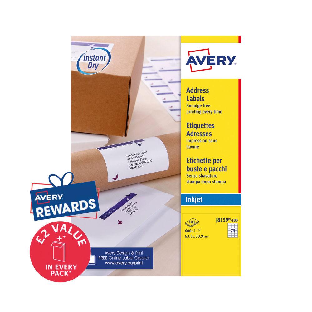 Avery Inkjet Labels 63.5x33.9mm 24 Per Sheet (Pck 2400) J8159-100