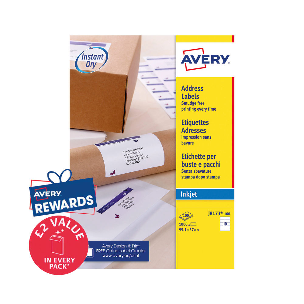Avery Inkjet Label 99.1x57mm 10 Per Sheet (Pk 1000) J8173-100