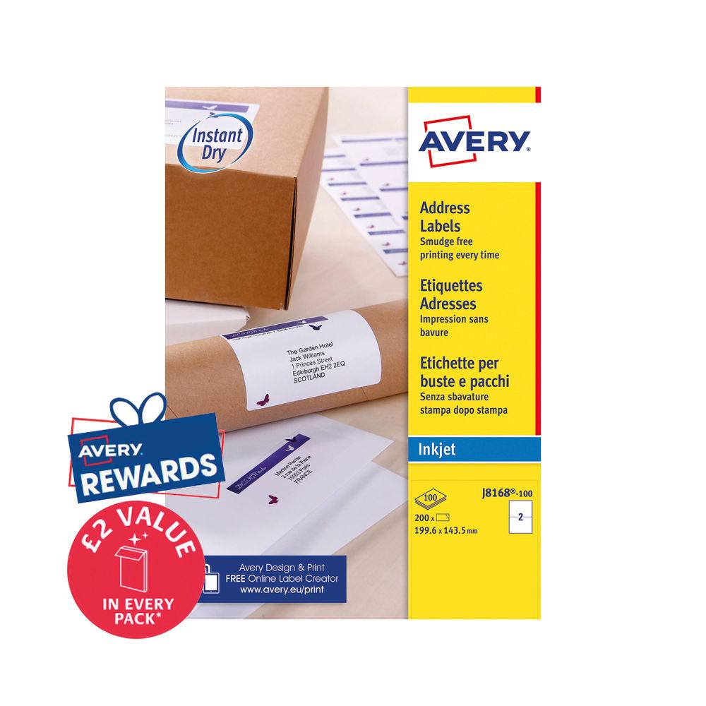 Avery Inkjet Labels 199.6x143.5mm 2 Per Sheet (Pk 200) J8168-100