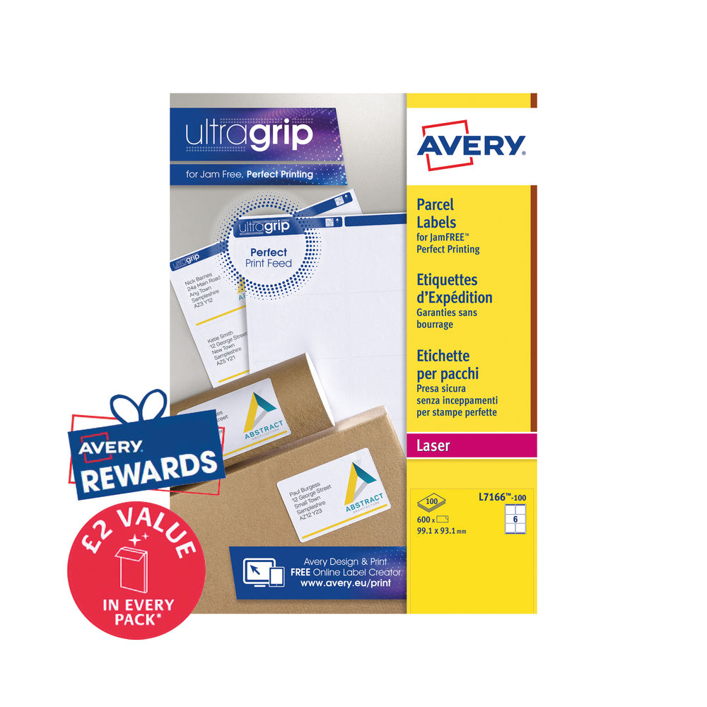 Avery White Laser Parcel / Address Labels 99.1 x 93.1mm Pack of 600 - L7166-100