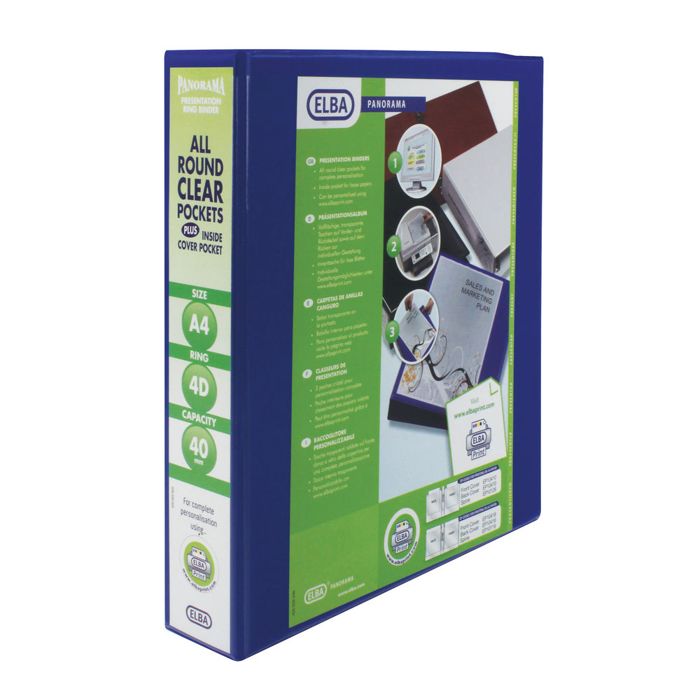 Elba Panorama Blue A4 Presentation 4 D-Ring Binder 40mm - Pack of 6 - 400008418