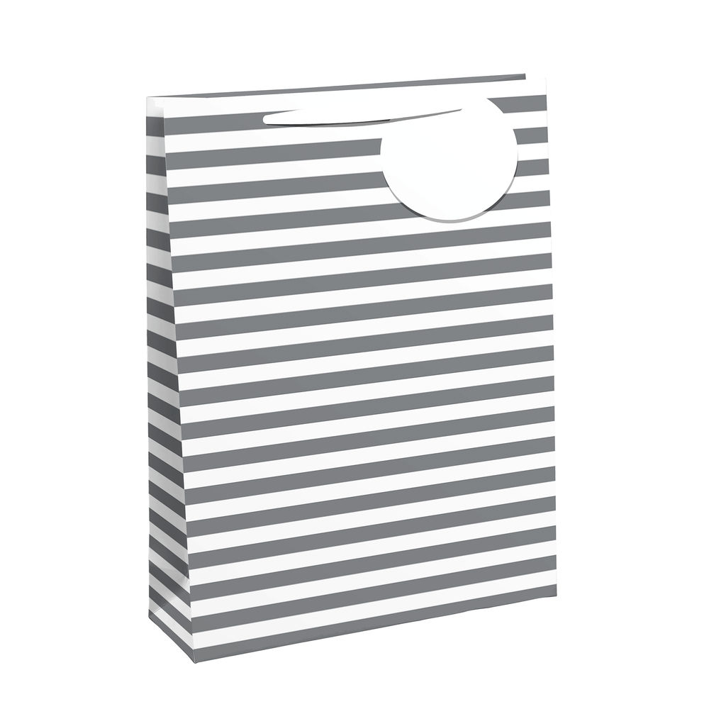 White/Silver Striped Medium Gift Bags, Pack of 6 - 26658-3