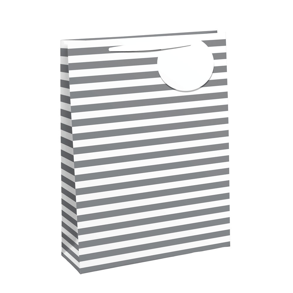 White/Silver Striped Large Gift Bags, Pack of 6 - 26658-2