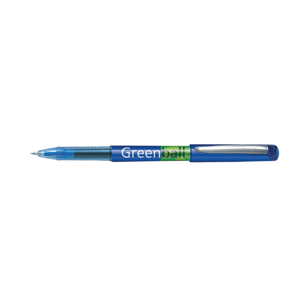 Pilot Greenball Begreen Rollerball Pen Medium Line Blue (Pack of 10) 4902505345258