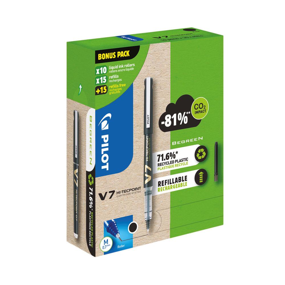 Pilot V7 10 Liquid Ink Rollerball Pens 30 Refills Medium Tip Black (Pack of 40) WLT556251