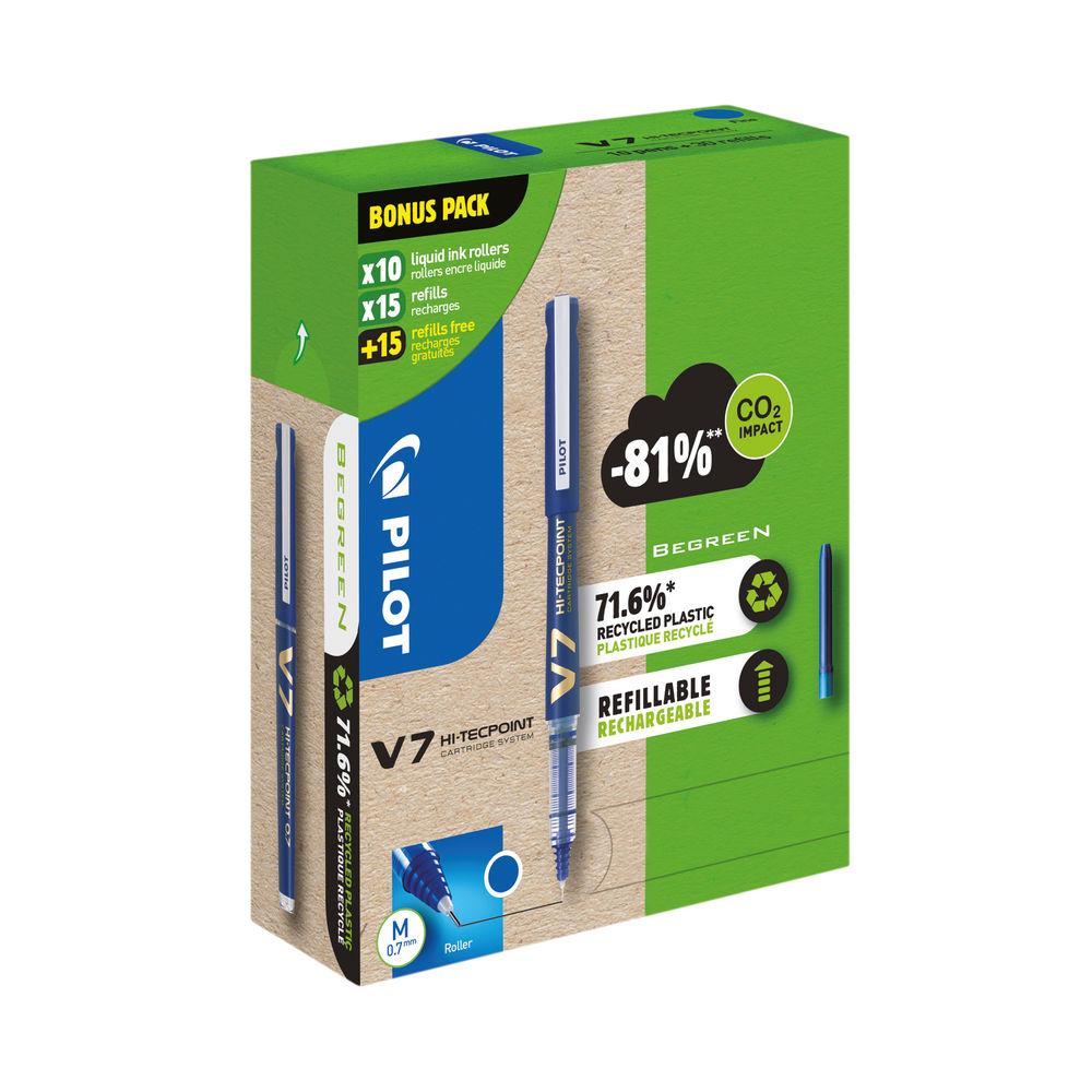 Pilot V7 10 Liquid Ink Rollerball Pens 30 Refills Medium Tip Blue (Pack of 40) WLT556268