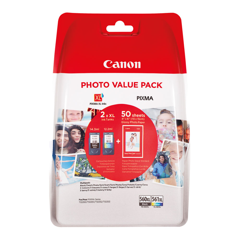 Canon PG-560XL/CL-561XL Ink Photo Value Pack - High Capacity 3712C004