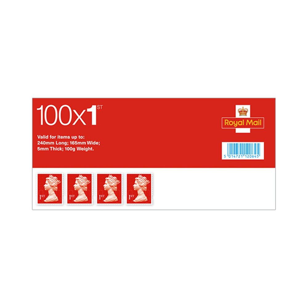 1st Class Stamps x 100 (Self Adhesive Stamp Sheet) - SA1ST RED