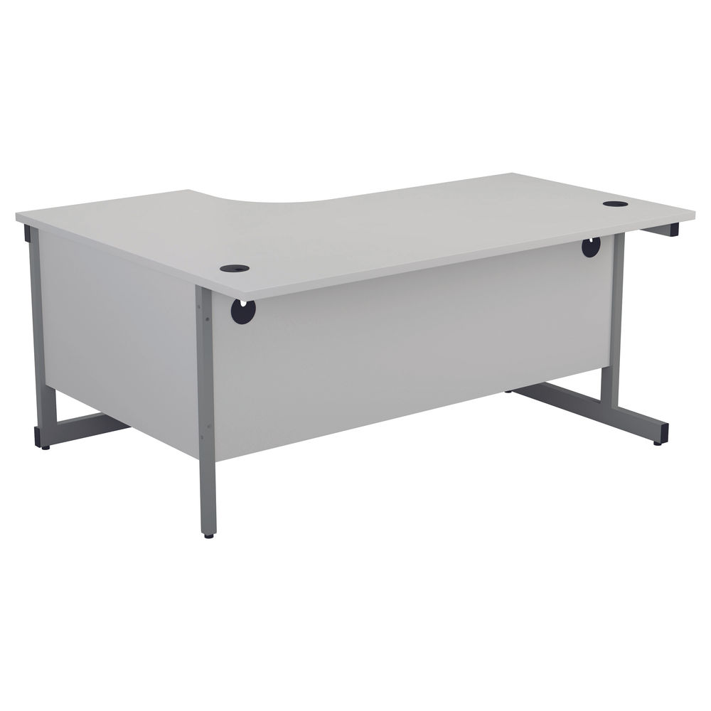 First 1800mm White/Silver Right Hand Radial Desk