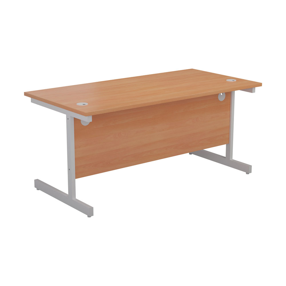 First 1400mm Beech/White Single Rectangular Desk
