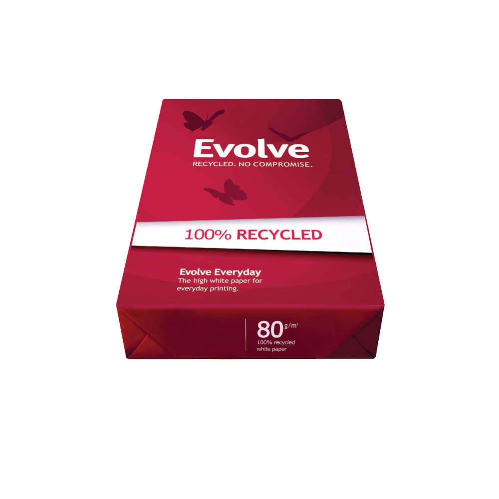Evolve White A3 Everyday Recycled Paper 80gsm, Pack of 500 Sheets - 361363000055