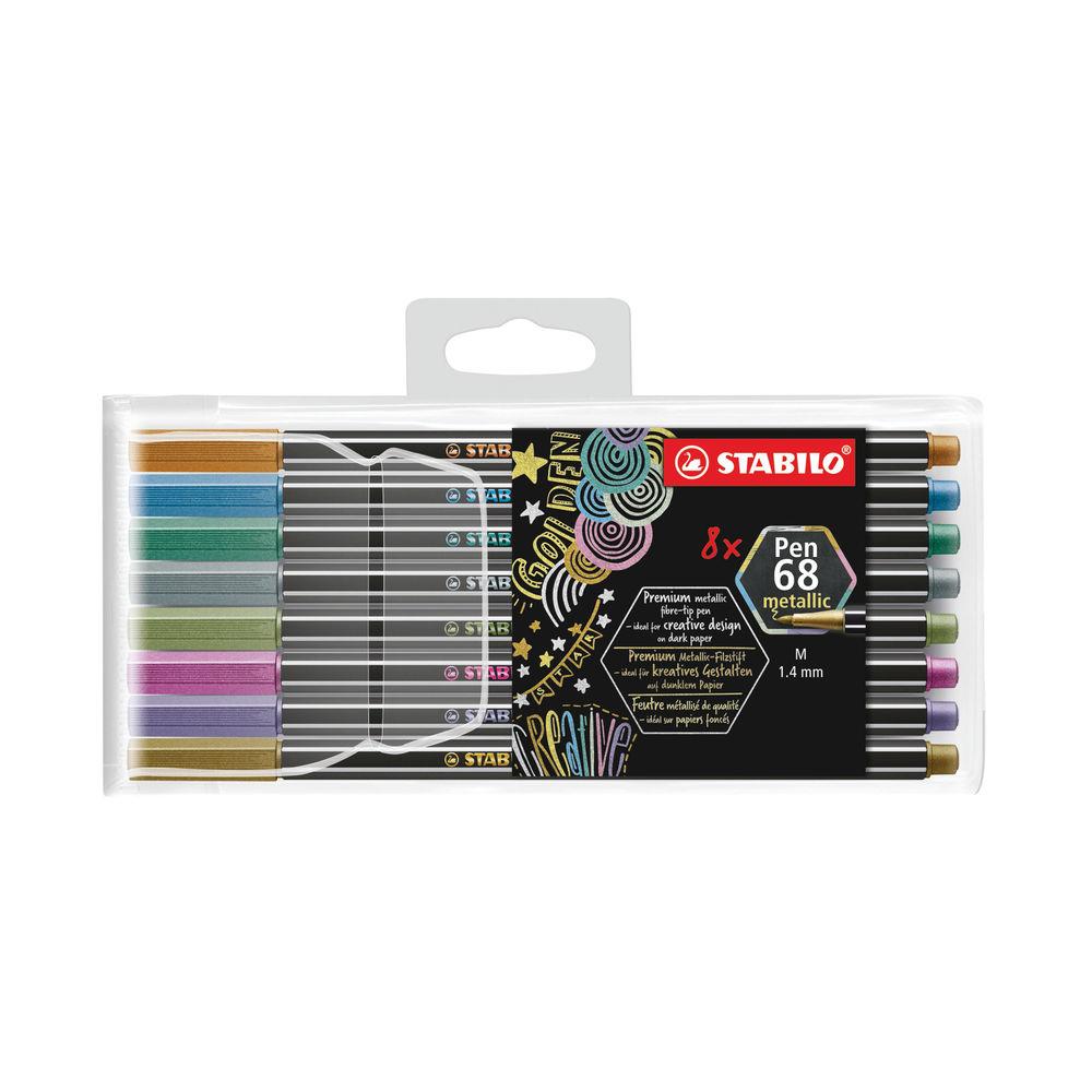 Stabilo Pen 68 Metallic Fibre Tip Pen Assorted (Pack of 8) 11/08/6808