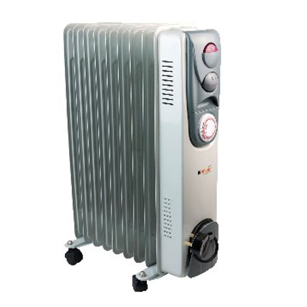 Oil Filled Radiator 2kW Timer Control White (Variable thermostat with timer cont
